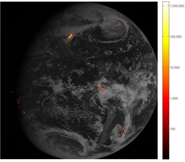 In this mage provided by NOAA shows some of the first images from it's new satellite that maps lightning. A new U.S. satellite is mapping lightning flashes worldwide from above, which should provide better warning about dangerous strikes.  NOAA released the first images from a satellite launched last November that had the first lightning detector in geostationary orbit. It includes bright flashes from a storm that spawned tornadoes and hail in the Houston region on Valentine's Day. (NOAA via AP)