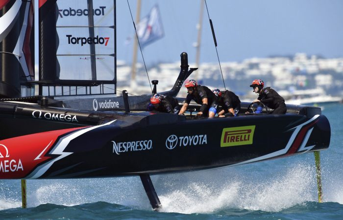 In this photo provided by the America's Cup Event Authority, Emirates Team New Zealand competes during Race 2 of the America's Cup match sailing competition, Sunday, June 18, 2017, in the Great Sound of Bermuda. (Ricardo Pinto/ACEA via AP)