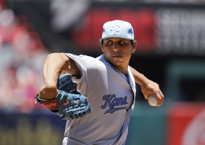 Kansas City Royals starting pitcher Jason Vargas throws against the Los Angeles Angels during the first inning of a baseball game, Sunday, June 18, 2017, in Anaheim, Calif. (AP Photo/Jae C. Hong)