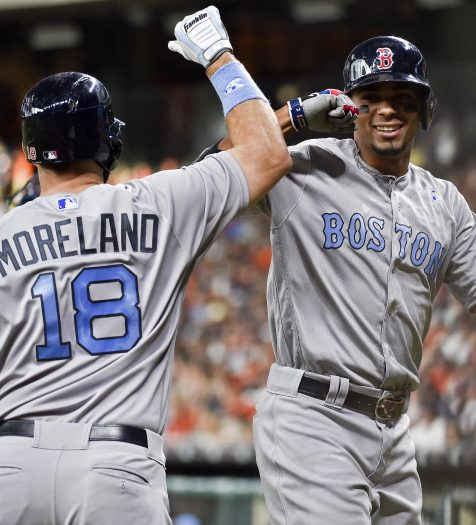 Boston Red Sox's Xander Bogaerts, right, celebrates his solo home run off Houston Astros starting pitcher Joe Musgrove with Mitch Moreland during the first inning of a baseball game, Sunday, June 18, 2017, in Houston. (AP Photo/Eric Christian Smith)