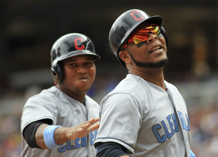 Cleveland Indians Edwin Encarnacion (10) is congratulated by Cleveland Indians Jose Ramirez after a two-run home run against the Minnesota Twins in the fourth inning during a baseball game on Sunday, June 18, 2017 in Minneapolis. (AP Photo/Andy Clayton-King)