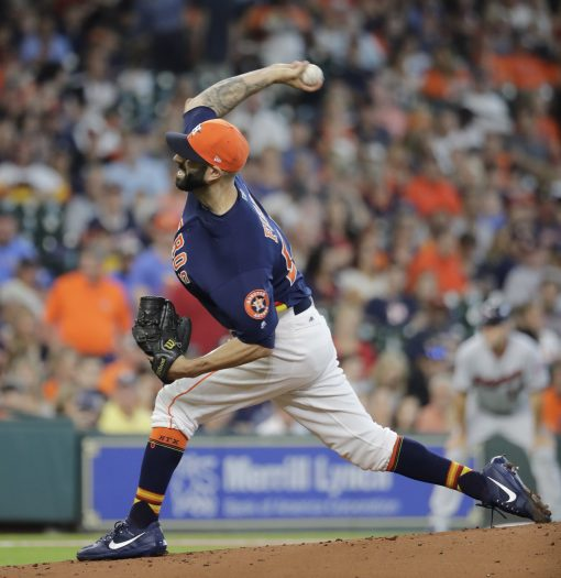 Houston Astros starting pitcher Mike Fiers throws against the Minnesota Twins during the first inning of a baseball game Sunday, July 16, 2017, in Houston. (AP Photo/David J. Phillip)