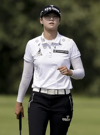 South Korea's Sung Hyun Park reacts after sinking a putt on the fifth green during the final round of the U.S. Women's Open Golf tournament Sunday, July 16, 2017, in Bedminster, N.J. (AP Photo/Seth Wenig)