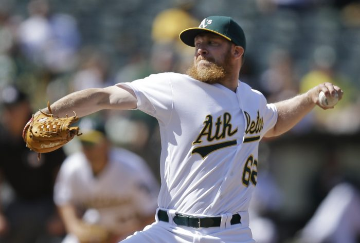 FILE - This May 29, 2016 file photo shows Oakland Athletics' Sean Doolittle working against the Detroit Tigers in the ninth inning of a baseball game in Oakland, Calif. The Washington Nationals acquired Doolittle and reliever Ryan Madson from the Oakland Athletics for right-hander Blake Treinen and a pair of prospects, Sunday, July 16, 2017. (AP Photo/Ben Margot, file)