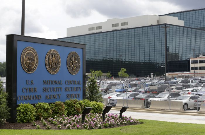 FILE - This June 6, 2013, file photo shows the National Security Administration (NSA) campus in Fort Meade, Md., where the US Cyber Command is located. U.S. officials say the Trump administration, after months of delay, is finalizing plans to revamp the nation's military command for defensive and offensive cyber-operations. The plan would eventually split it from the intelligence-focused National Security Agency in hopes of intensifying America's ability to wage cyber war against the Islamic State group and other foes.(AP Photo/Patrick Semansky, File)