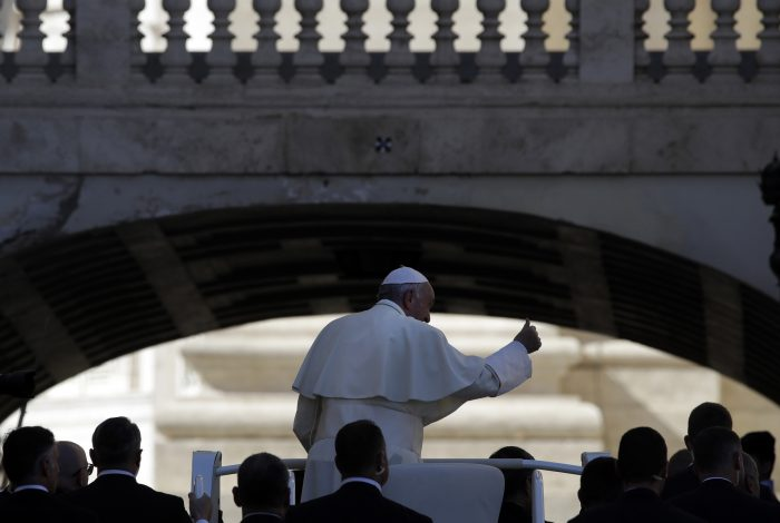 Pope Francis gives the thumbs up as he leaves at the end of his weekly general audience, in St. Peter's Square, at the Vatican, Wednesday, Oct. 11, 2017. (AP Photo/Alessandra Tarantino)