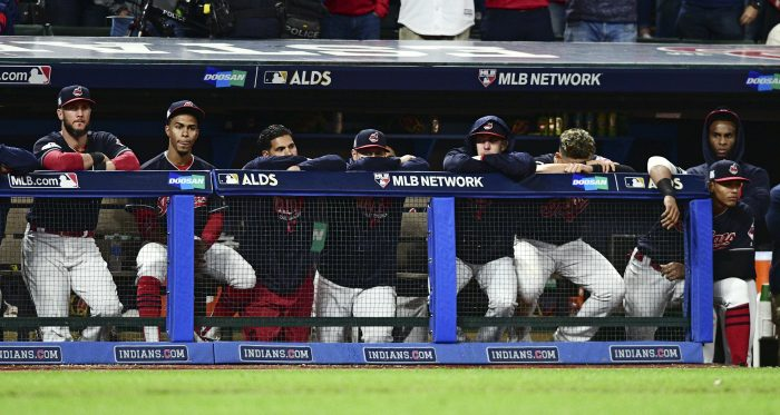 The Cleveland Indians watch during the ninth inning against the New York Yankees in Game 5 of a baseball American League Division Series, Wednesday, Oct. 11, 2017, in Cleveland. The Yankees won 5-2 and advanced to the ALCS. (AP Photo/David Dermer)