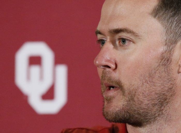 Oklahoma head coach Lincoln Riley answers a question during an NCAA college football news conference in Norman, Okla., Monday, Oct. 9, 2017. The Oklahoma defense that seemed so promising during non-conference play fell apart in league games against Baylor and Iowa State. The 12th-ranked Sooners will try to regroup Saturday against Texas. (AP Photo/Sue Ogrocki)