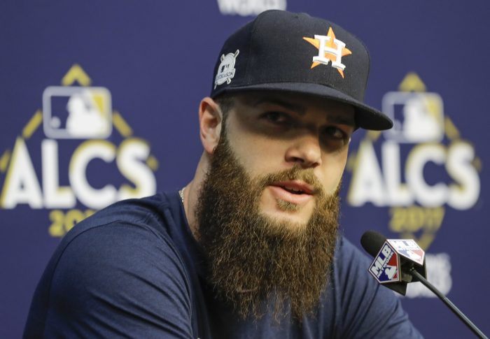 Houston Astros starting pitcher for Game 1 of the American League Championship Series baseball game against the New York Yankees Dallas Keuchel answers questions at a news conference Thursday, Oct. 12, 2017, in Houston. (AP Photo/David J. Phillip)
