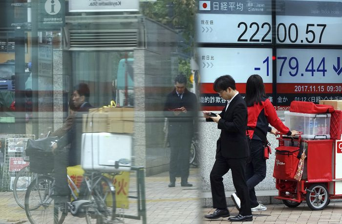 People walk past an electronic stock board showing Japan's Nikkei 225 index at a securities firm in Tokyo Wednesday, Nov. 15, 2017. Shares fell in Asia on Wednesday, tracking modest losses overnight on Wall Street, where the biggest drop in crude oil prices since October weighed on oil producers and other energy stocks. (AP Photo/Eugene Hoshiko)