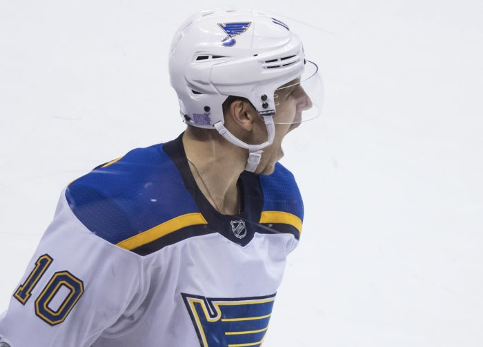 St. Louis Blues' Brayden Schenn celebrates after scoring in overtime against the Vancouver Canucks during an NHL hockey game Saturday, Nov. 18, 2017, in Vancouver, British Columbia. (Darryl Dyck/The Canadian Press via AP)