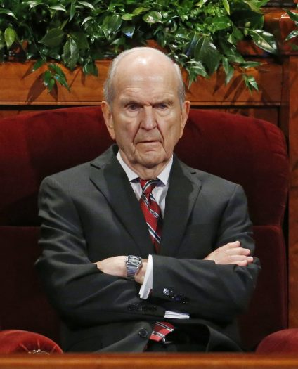 FILE - In this Sept. 30, 2017, file photo, Russell M. Nelson, president of the Quorum of the Twelve Apostles of The Church of Jesus Christ of Latter-day Saints looks on before the start of the two-day Mormon church conference, in Salt Lake City. President Thomas S. Monson, of The Church of Jesus Christ of Latter-day Saints, the 16th president of the Mormon church, died Tuesday, Jan. 2, 2018, after nine years in office. He was 90. The next president was not immediately named, but the job is expected to go to next longest-tenured member of the church's governing Quorum of the Twelve Apostles, Nelson, per church protocol. (AP Photo/Rick Bowmer, File)