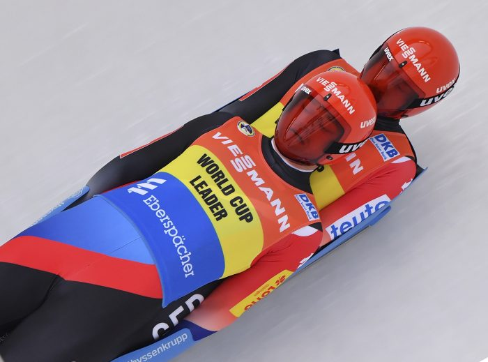 Germany's Toni Eggert, and Sascha Benecken compete during the men's doubles race at the Luge World Cup in Oberhof, Germany, Saturday, Jan. 13, 2018.  (Martin Schutt/dpa via AP)