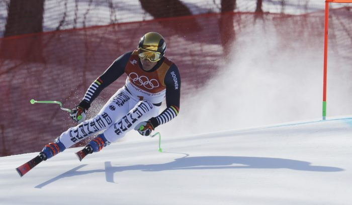 Germany's ThomasDressen skis during the downhill portion of the men's combined at the 2018 Winter Olympics in Jeongseon, South Korea, Tuesday, Feb. 13, 2018. (AP Photo/Michael Probst)