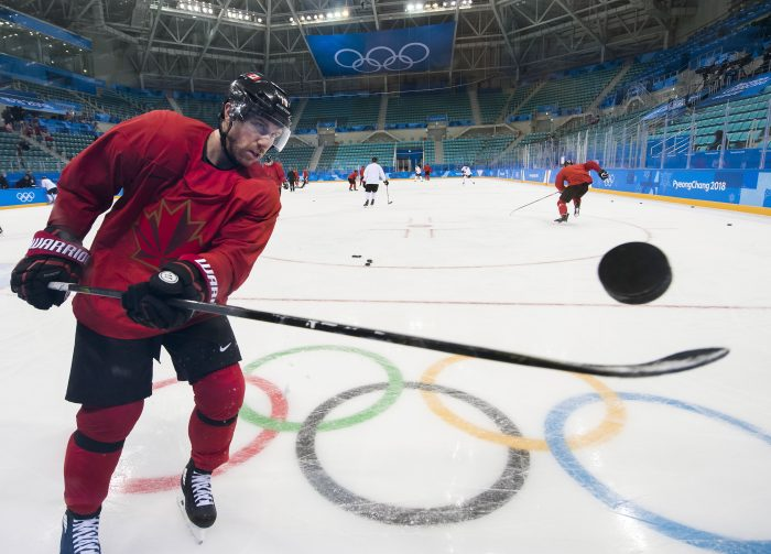 Canada's forward Derek Roy flips the puck up during a men's ice hockey team practice at the 2018 Winter Olympics in Gangneung, South Korea on Saturday, Feb. 10, 2018. (Nathan Denette/The Canadian Press via AP)