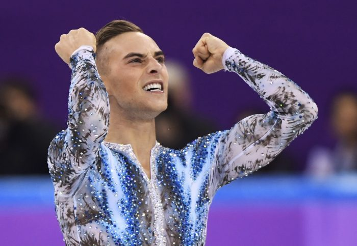 Adam Rippon of the United States reacts after his performance in the men's single skating free skating in the Gangneung Ice Arena at the 2018 Winter Olympics in Gangneung, South Korea, Monday, Feb. 12, 2018. (Paul Chiasson/The Canadian Press via AP)