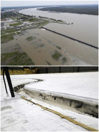 This combo of photos shows the opening of the Bonnet Carre spillway, above, a river diversion structure which diverts water from the rising Mississippi River to Lake Pontchartrain on March 8, 2018, top, and the same section on a replica of a portion of the Mississippi River, in Baton Rouge, La., on March 29, 2018, bottom. (AP Photos/Gerald Herbert)