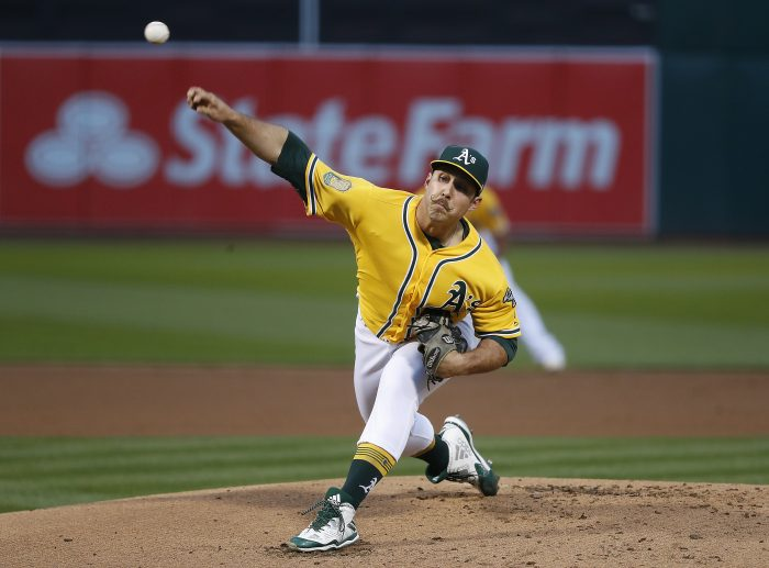 Oakland Athletics starting pitcher Daniel Mengden (33) works against the Chicago White Sox during the first inning of a baseball game Monday, April 16, 2018, in Oakland, Calif. (AP Photo/Tony Avelar)