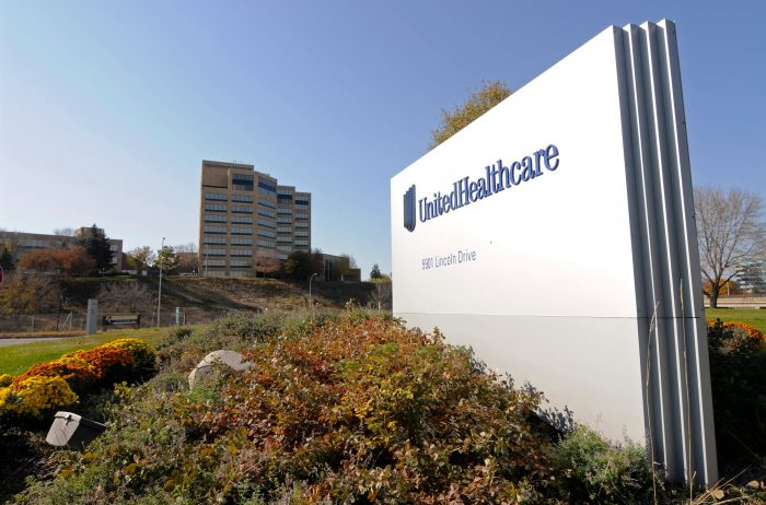 FILE - This Oct. 16, 2012, file photo, shows a portion of the UnitedHealth Group Inc.'s campus in Minnetonka, Minn. UnitedHealth Group reports earnings Tuesday, April 17, 2018. (AP Photo/Jim Mone, File)